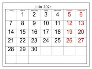 Calendrier Juin 2021 Excel