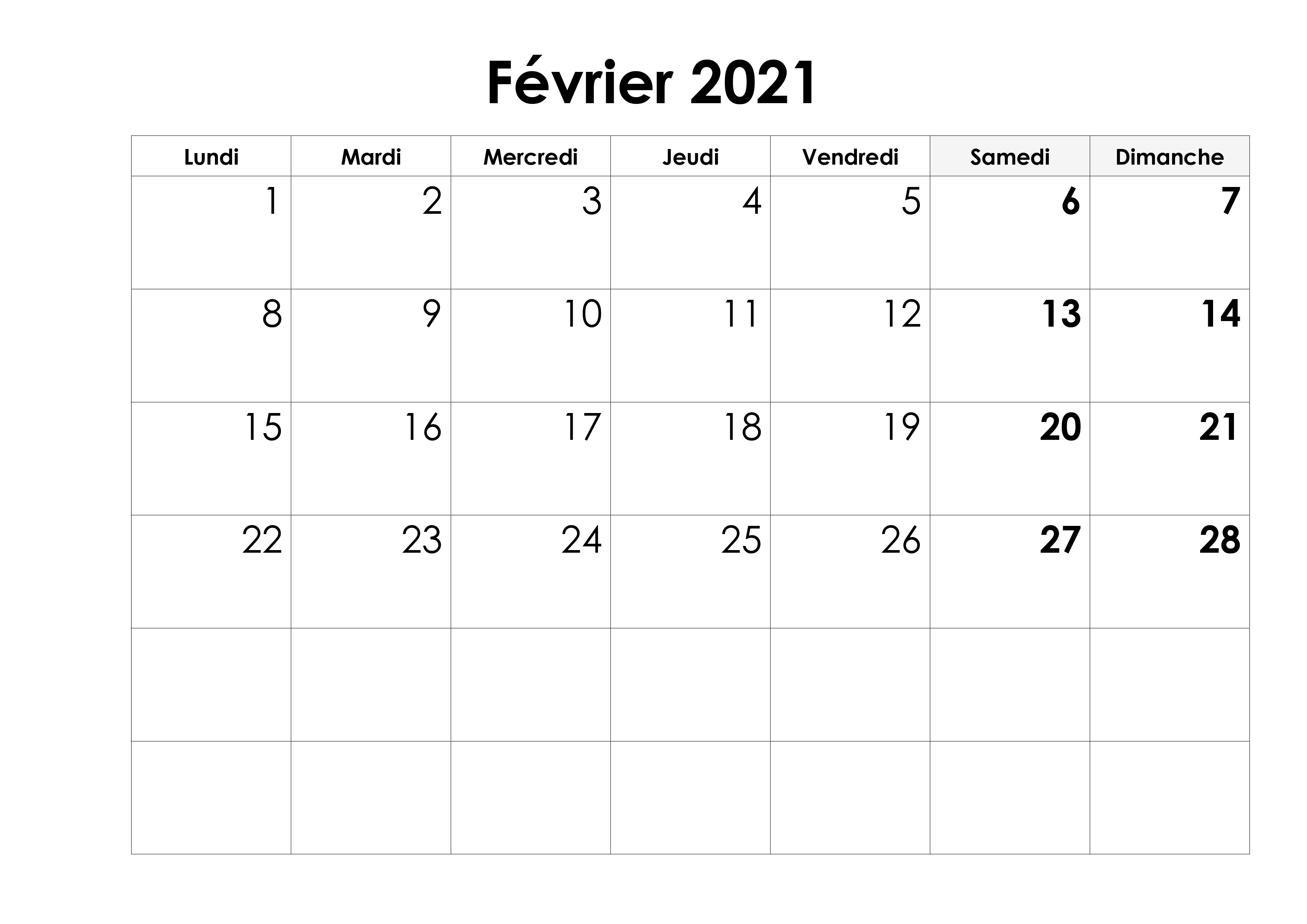 Calendrier Fevrier 2021 PDF