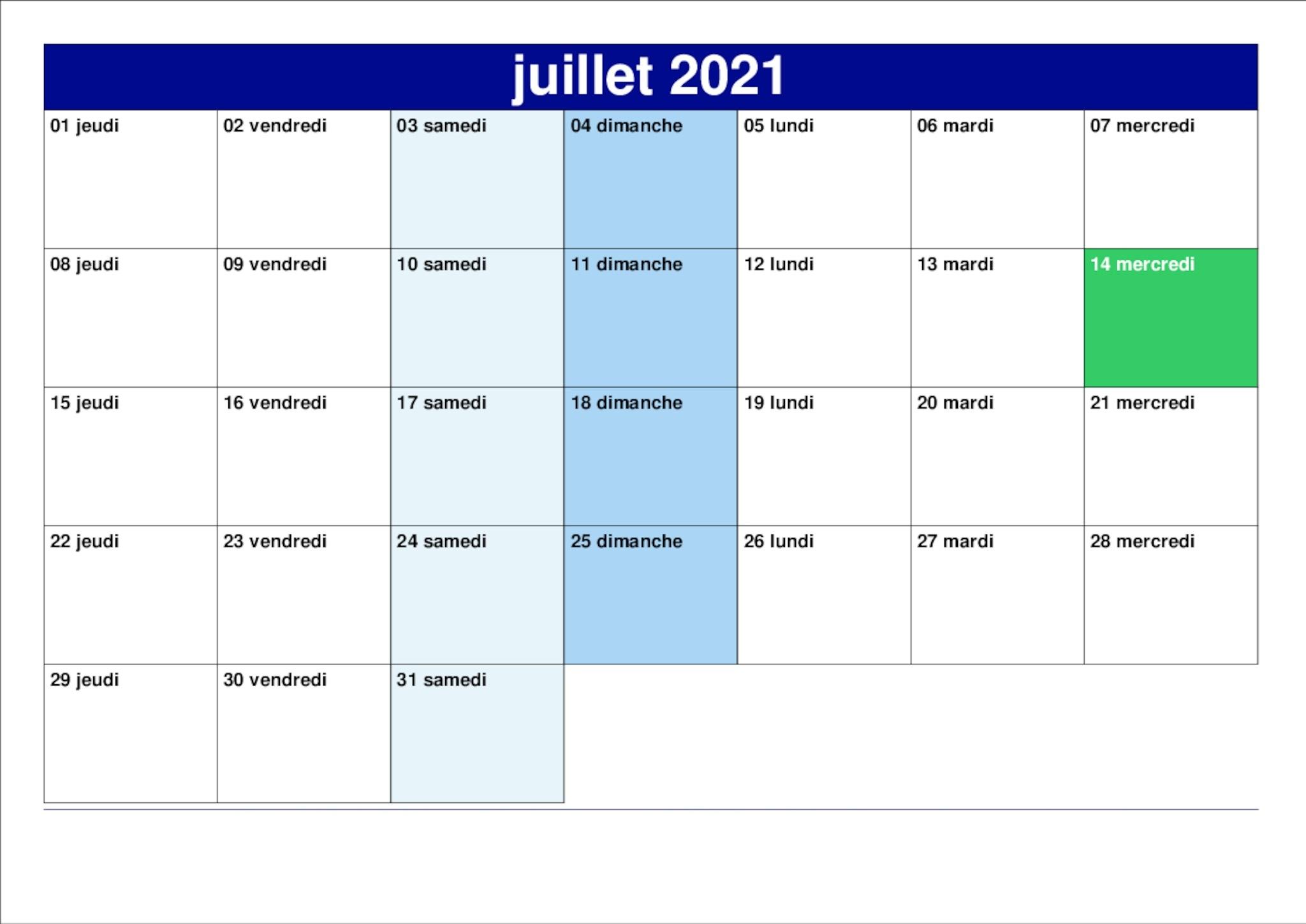Juillet Calendrier 2021