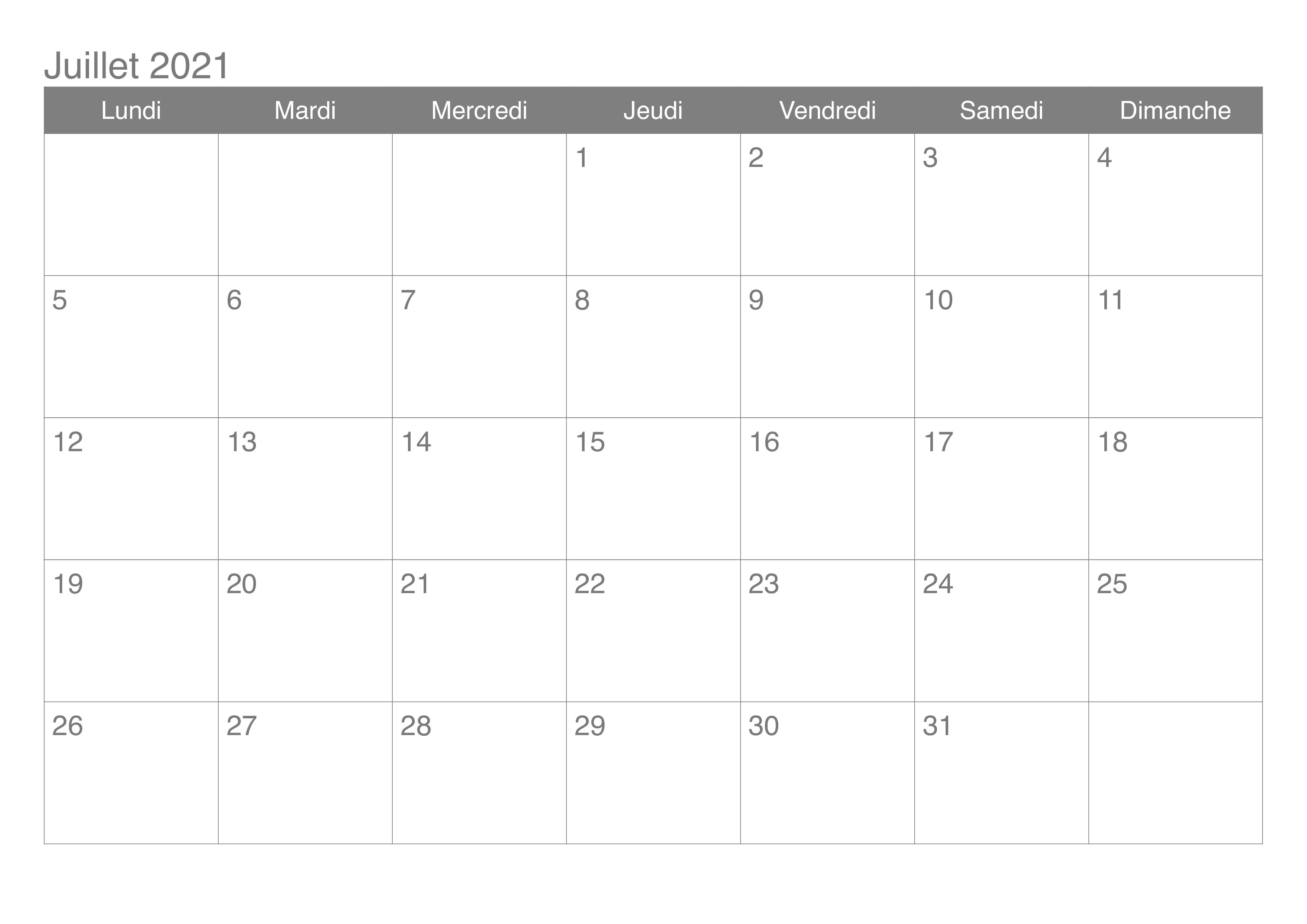 2021 Calendrier Juillet jours fériés