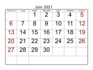 Calendrier Juin 2021 PDF