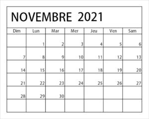2021 Calendrier Novembre