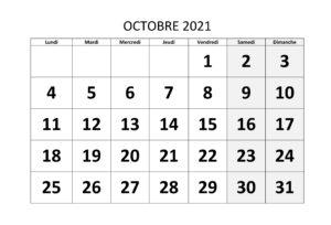 2021 Calendrier Octobre jours fériés