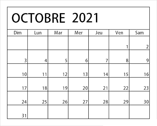 2021 Calendrier Octobre