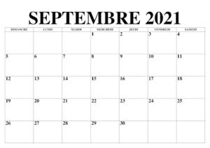 2021 Calendrier Septembre
