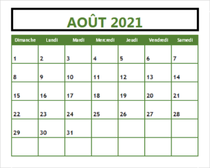 Août2021 Calendrier