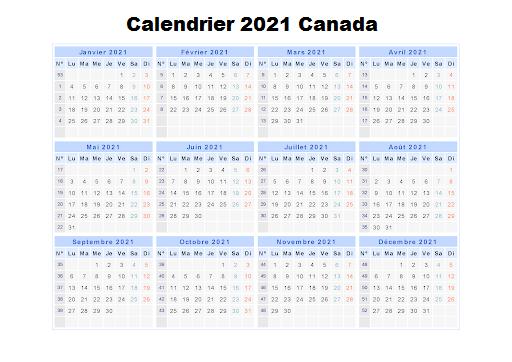 Calendrier Canadien 2021