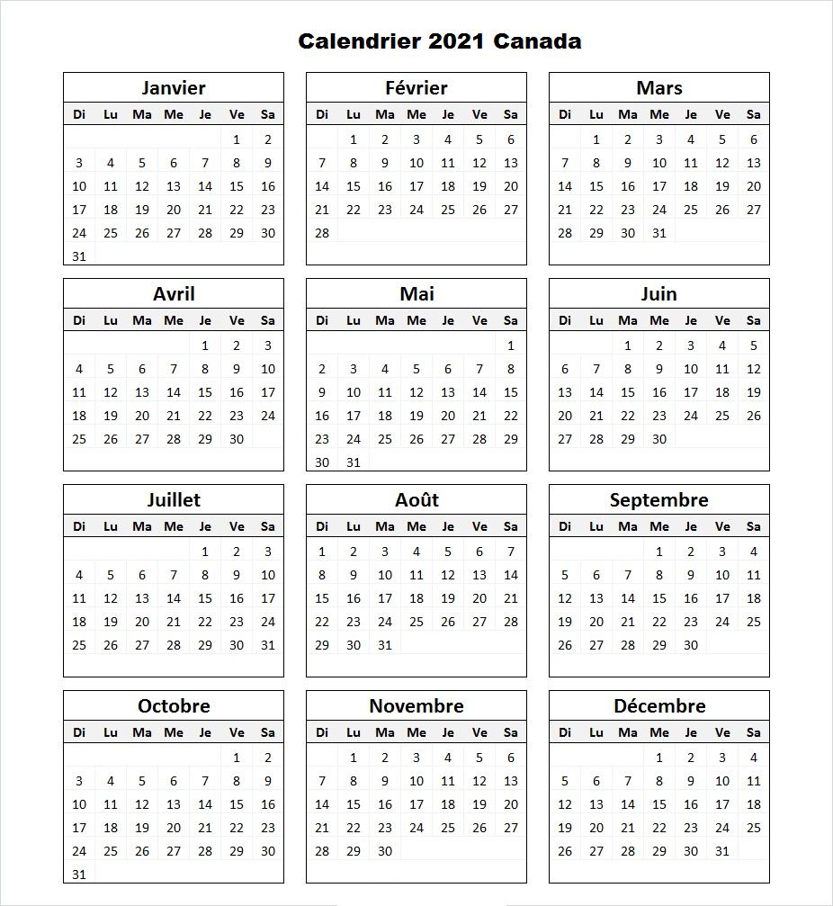 Calendrier 2021 Canada