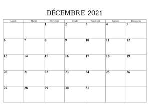 Calendrier 2021 Decembre