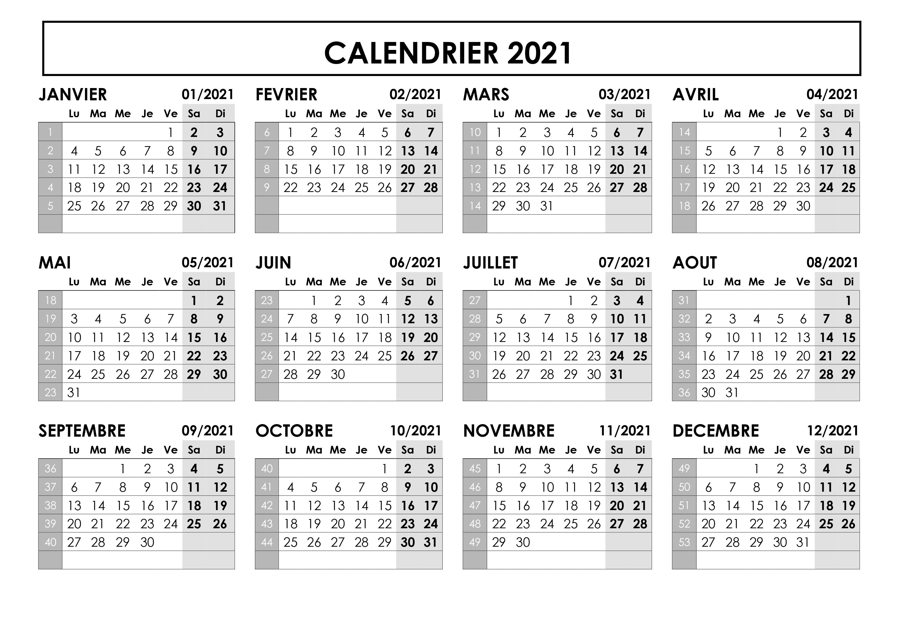 Calendrier 2021 Imprimable