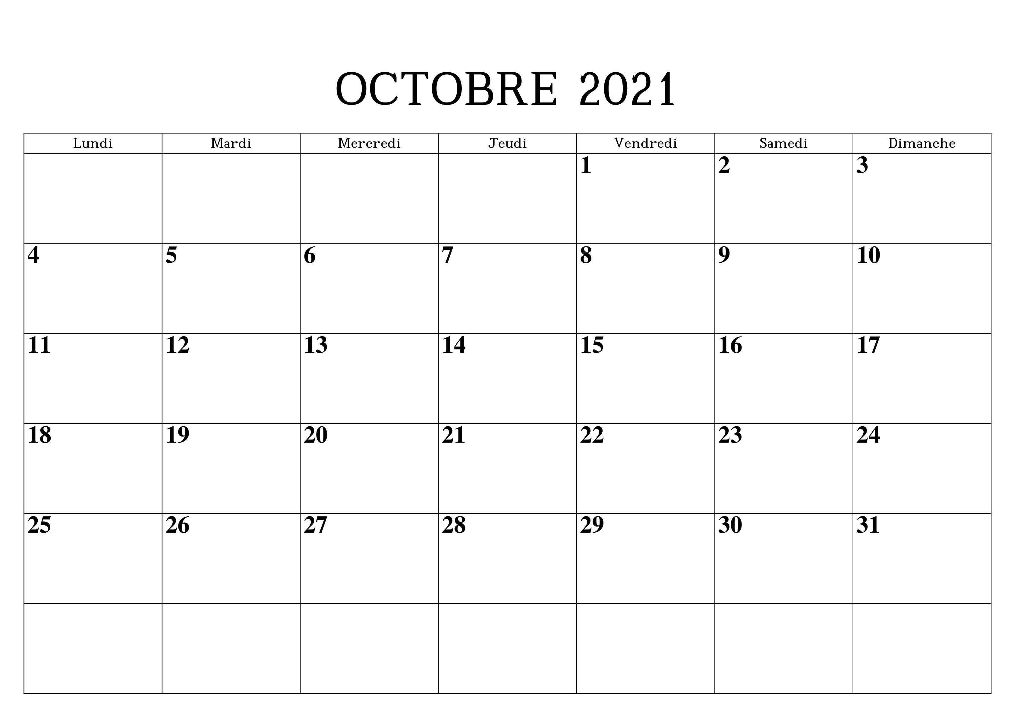 Calendrier 2021 Octobre PDF