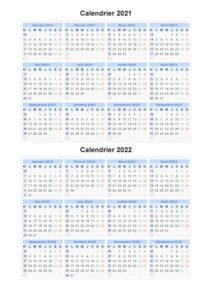 Calendrier 2021 et 2022 Belgique