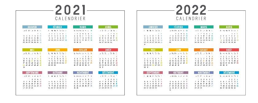 Calendrier 2021 et 2022 Excel