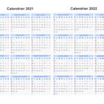 Calendrier 2021 et 2022 Semaine