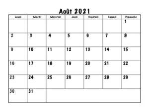 Calendrier Août2021 Vacances
