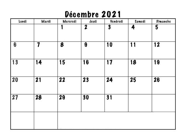 Calendrier Decembre 2021