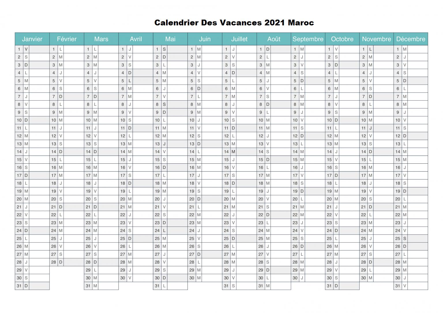 Calendrier Des Vacances 2021 Maroc