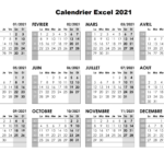 Calendrier 2021 Excel Modifiable