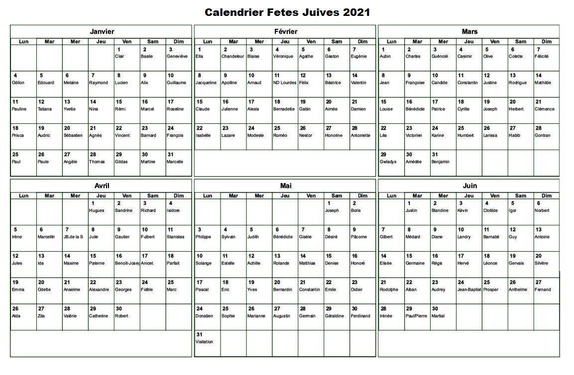 Calendrier Fetes Juives 2021