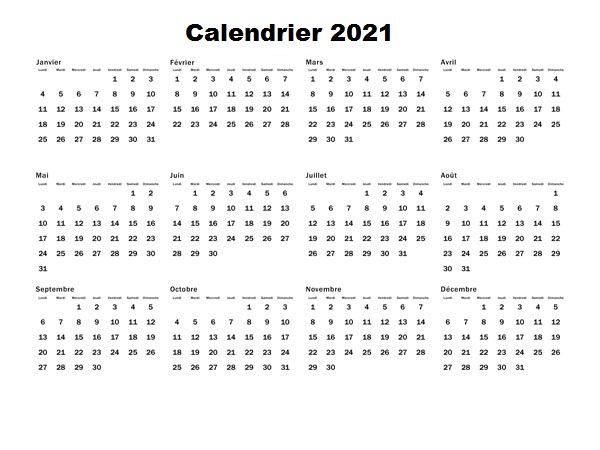 Calendrier Imprimable 2021
