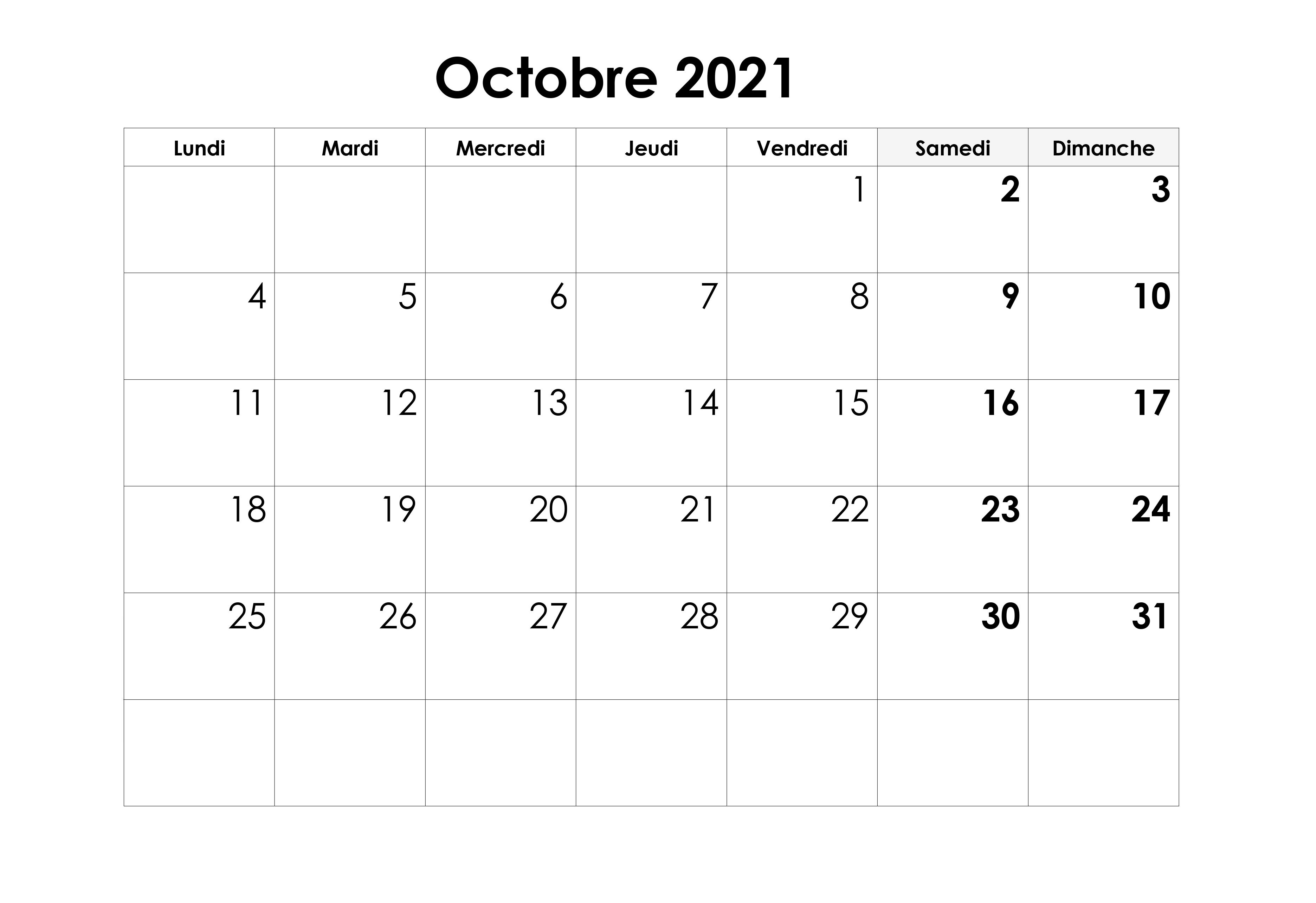 Calendrier Octobre 2021 Mensuel