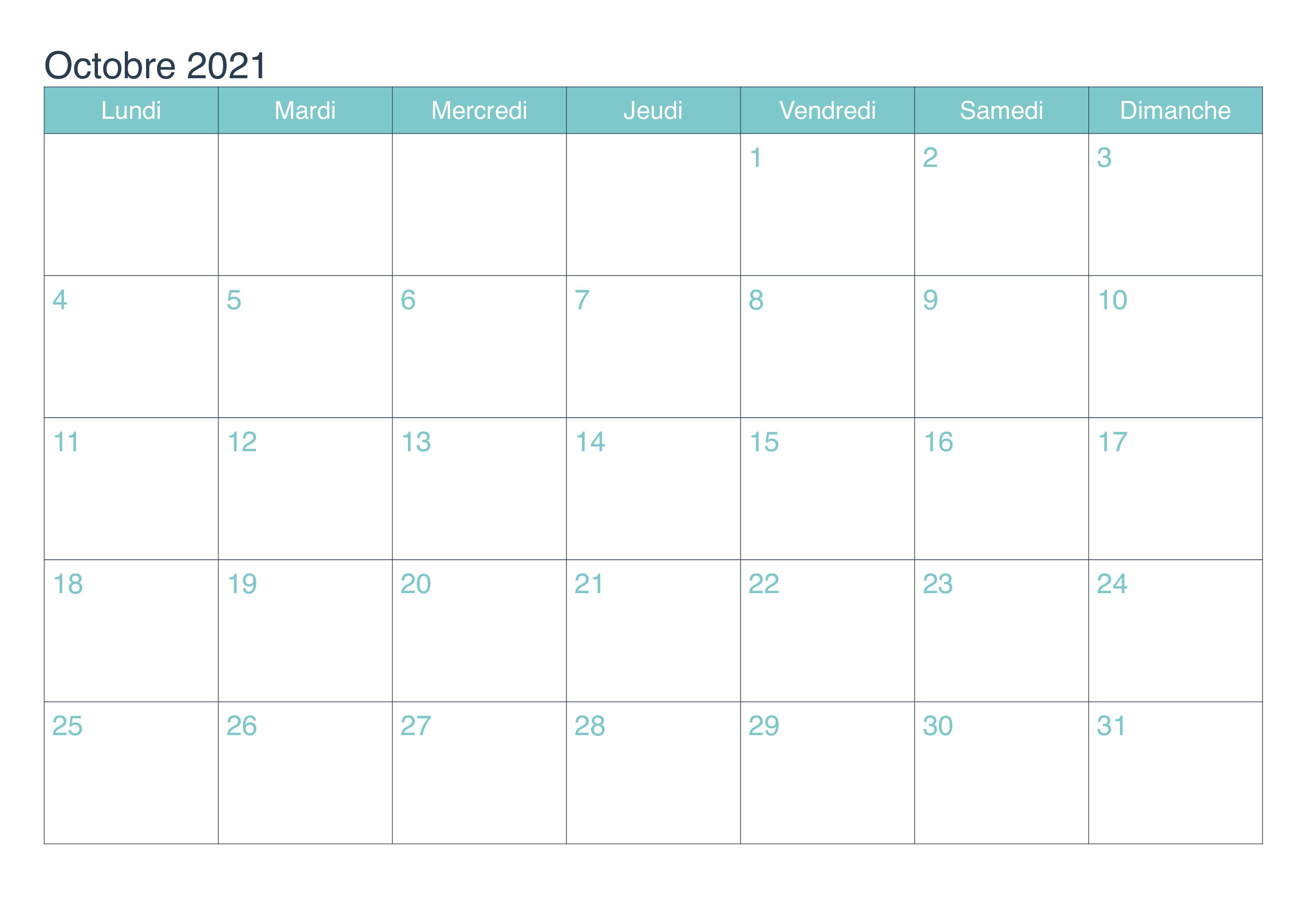 Calendrier Octobre Vacances 2021