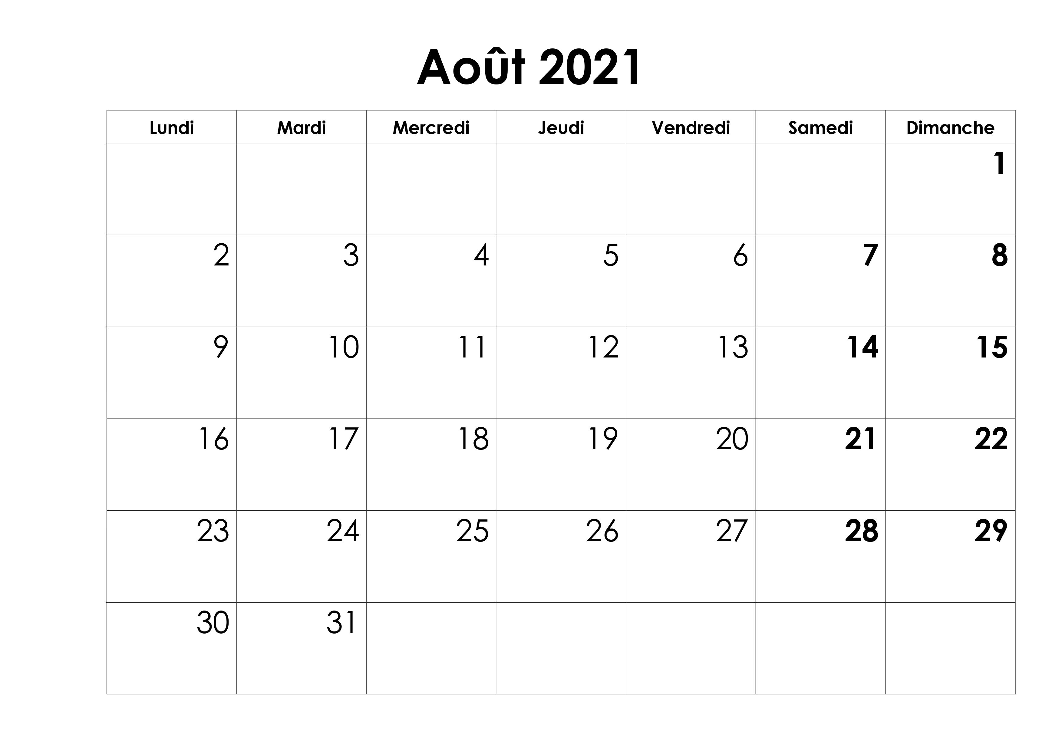 Calendrier août 2021 Mensuel