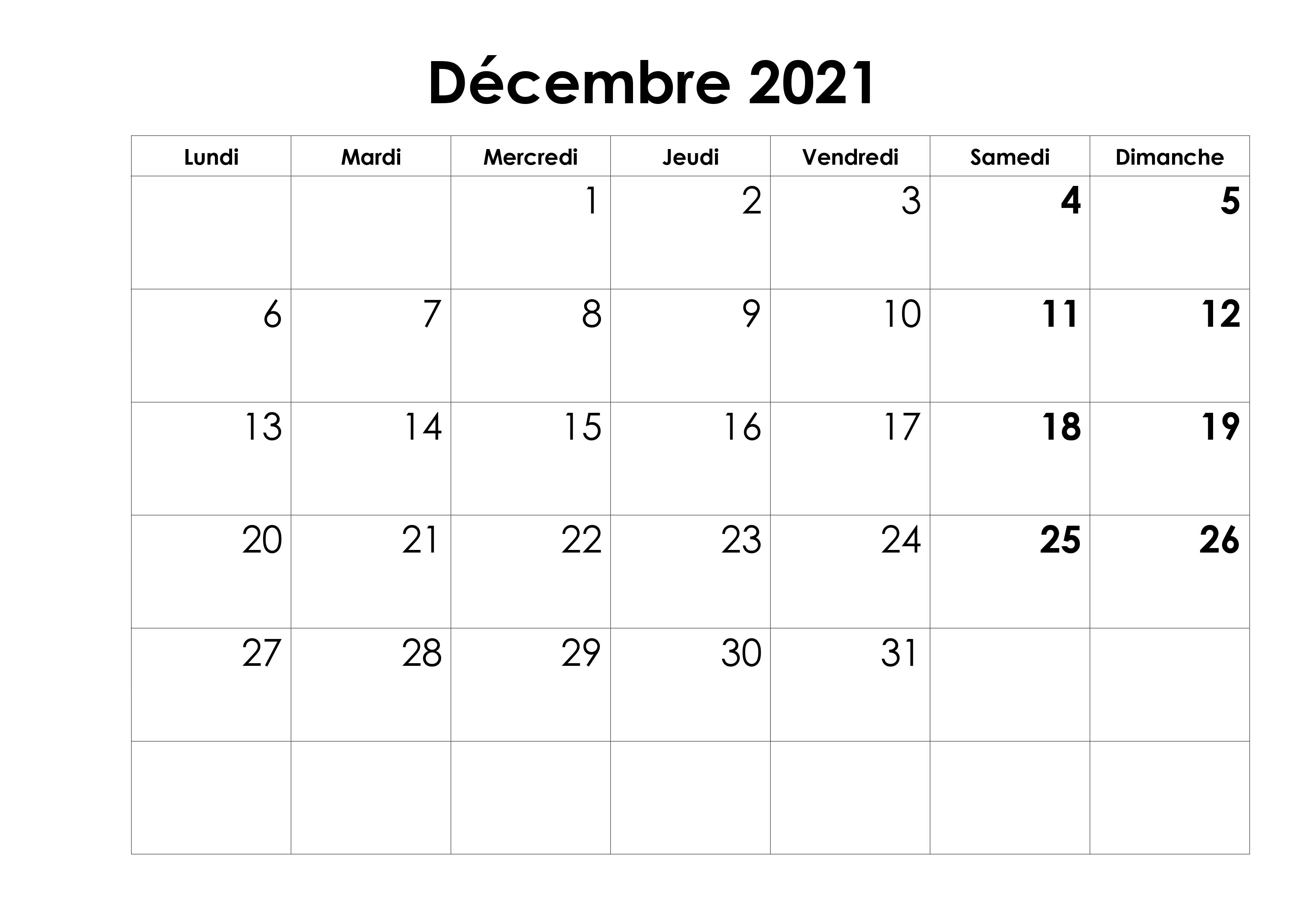 Decembre Vacances 2021 Calendrier