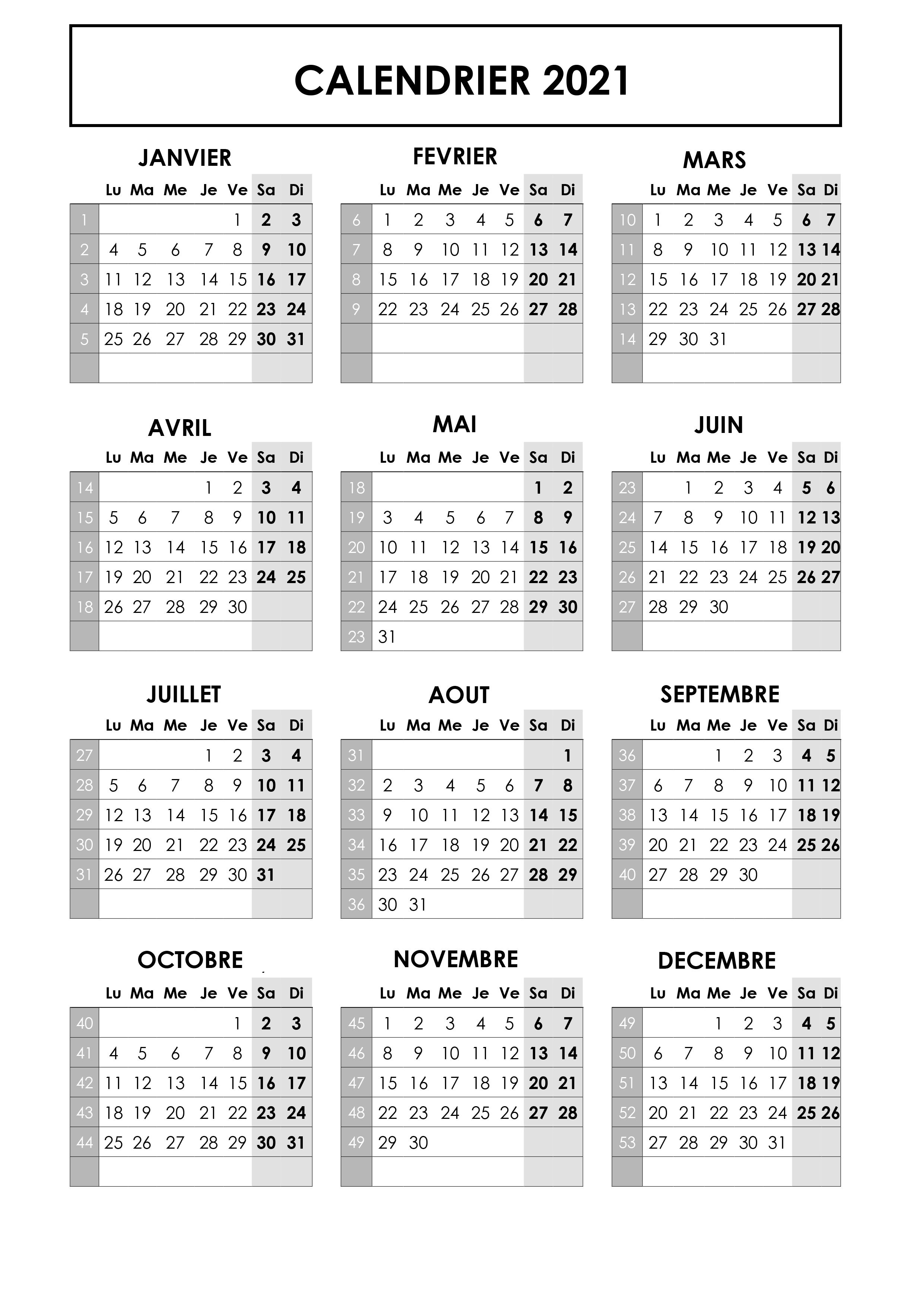 Imprimable Calendrier 2021