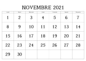 Novembre 2021 Calendrier PDF