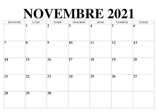 Novembre 2021 Calendrier jours fériés