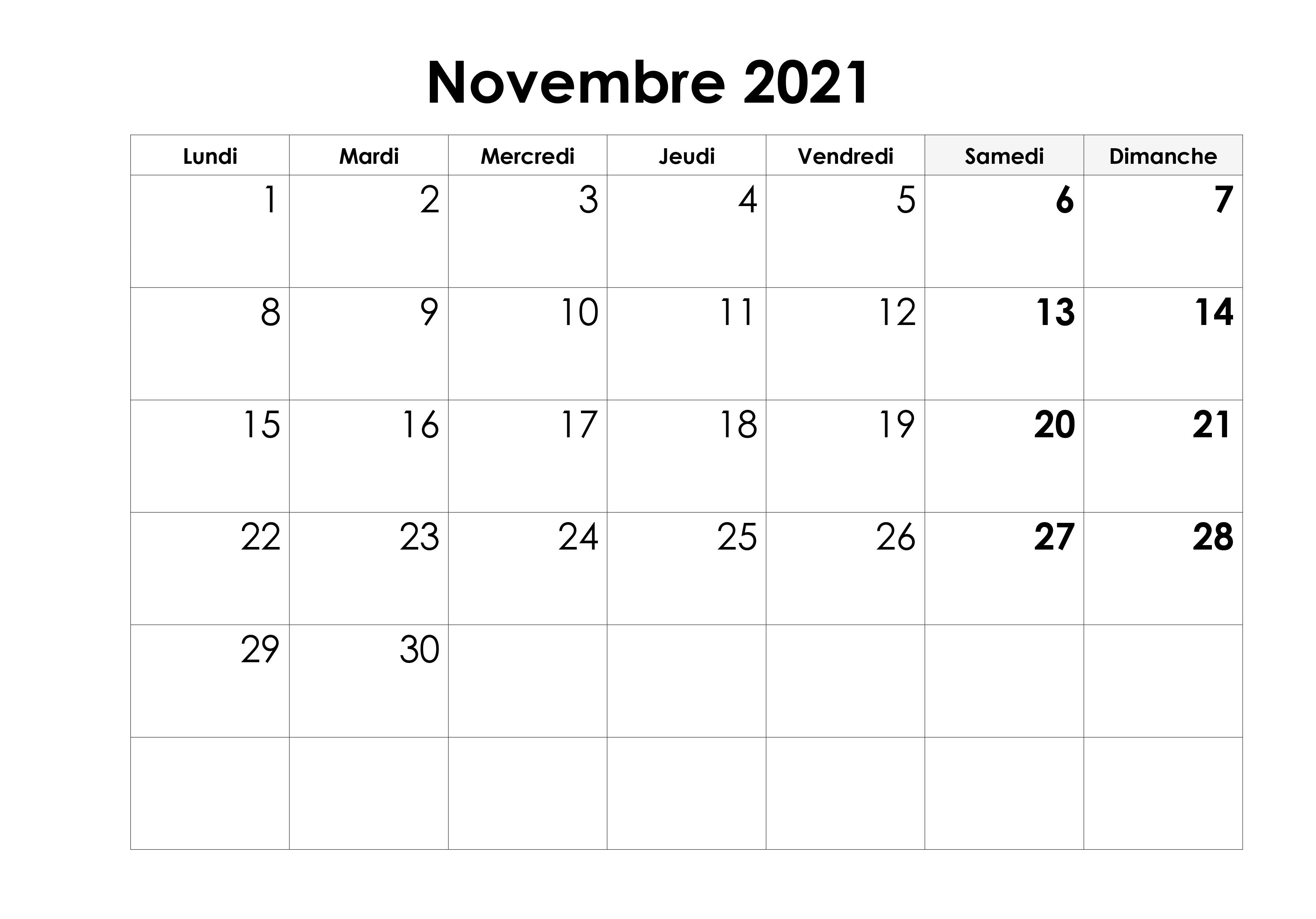 Novembre 2021 Calendrier