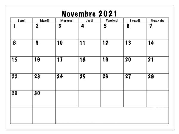 Novembre Vacances 2021 Calendrier