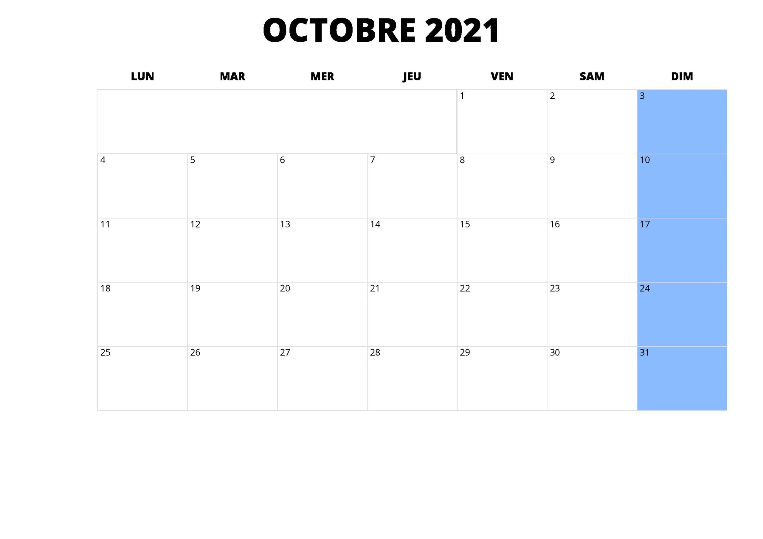 Octobre 2021 Calendrier