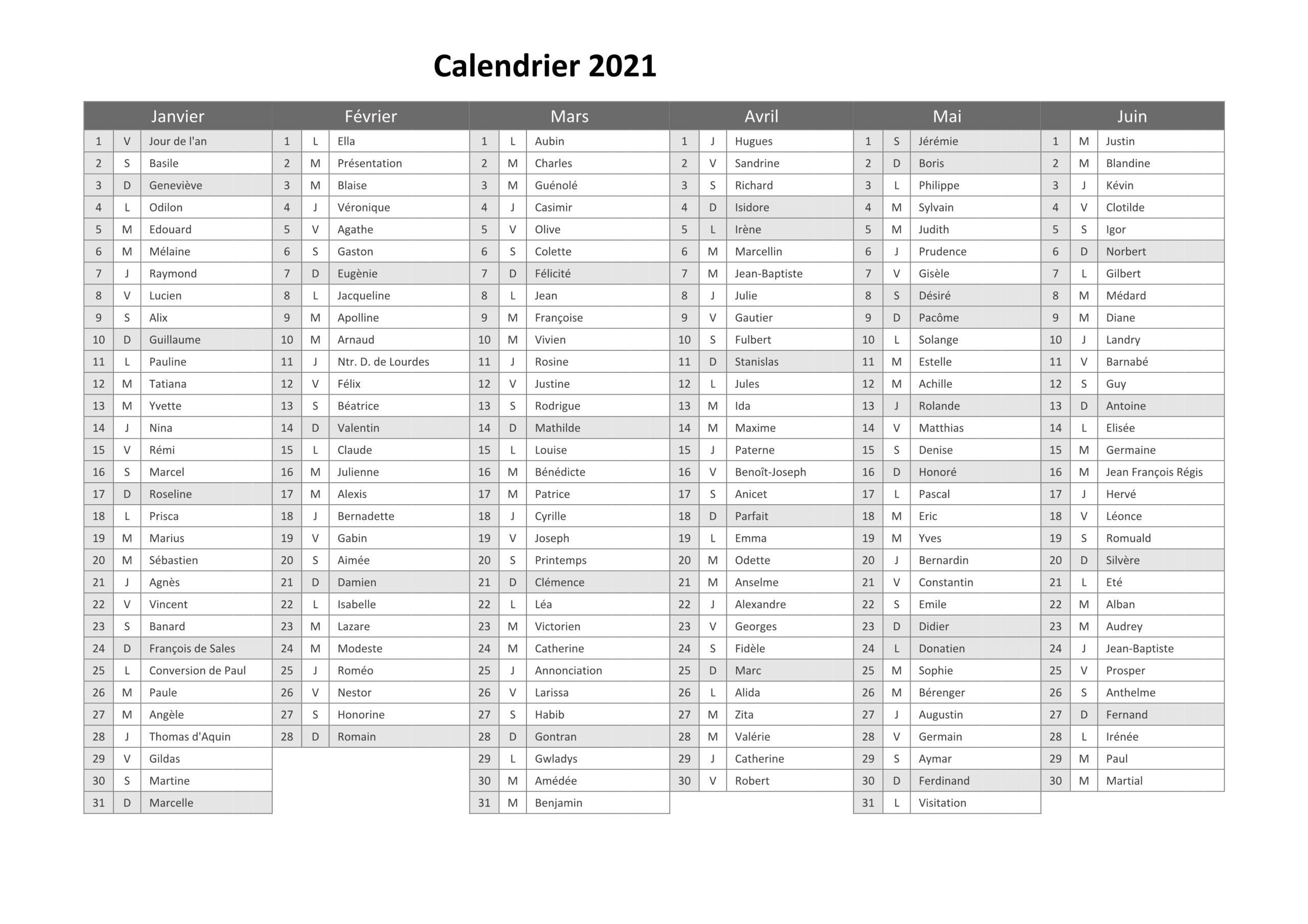Calendrier 2021 En Semaine