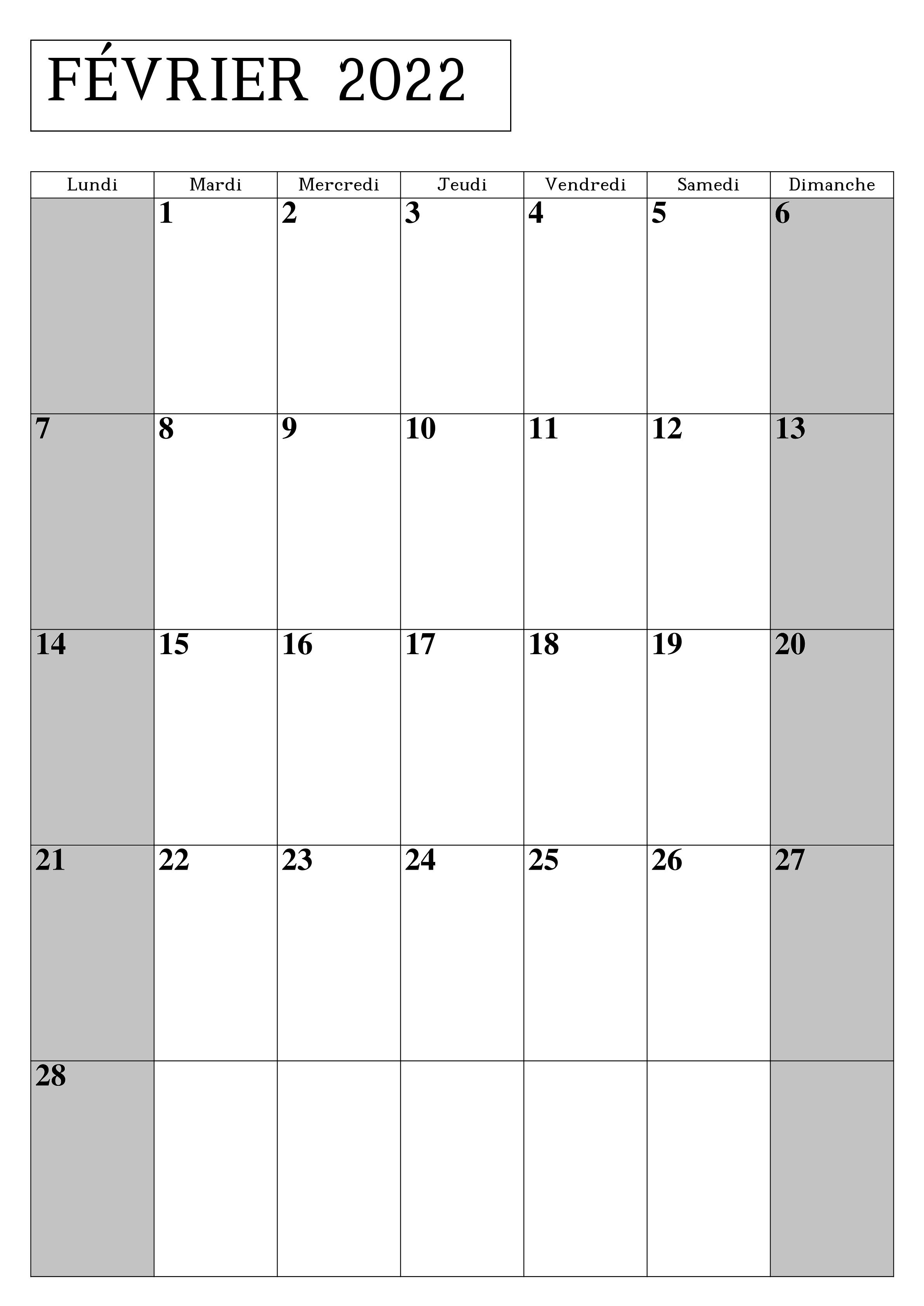 Calendrier 2022 Fevrier