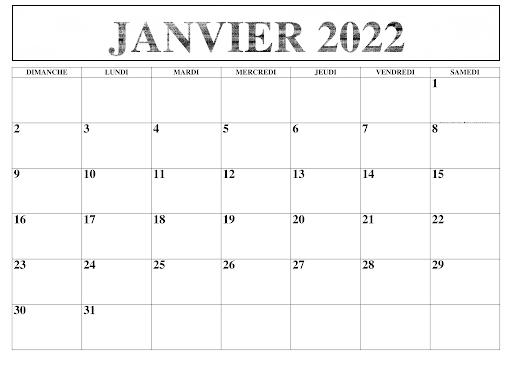 Calendrier 2022 Janvier