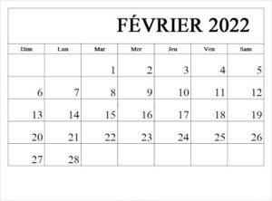 Calendrier Février 2022 Excel