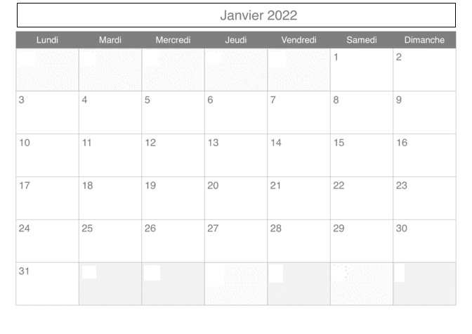 Calendrier Lunaire Janvier 2022