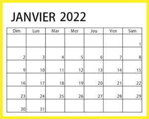 Calendrier Janvier 2022 PDF