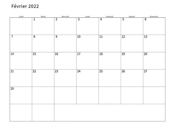 Calendrier Lunaire Fevrier 2022