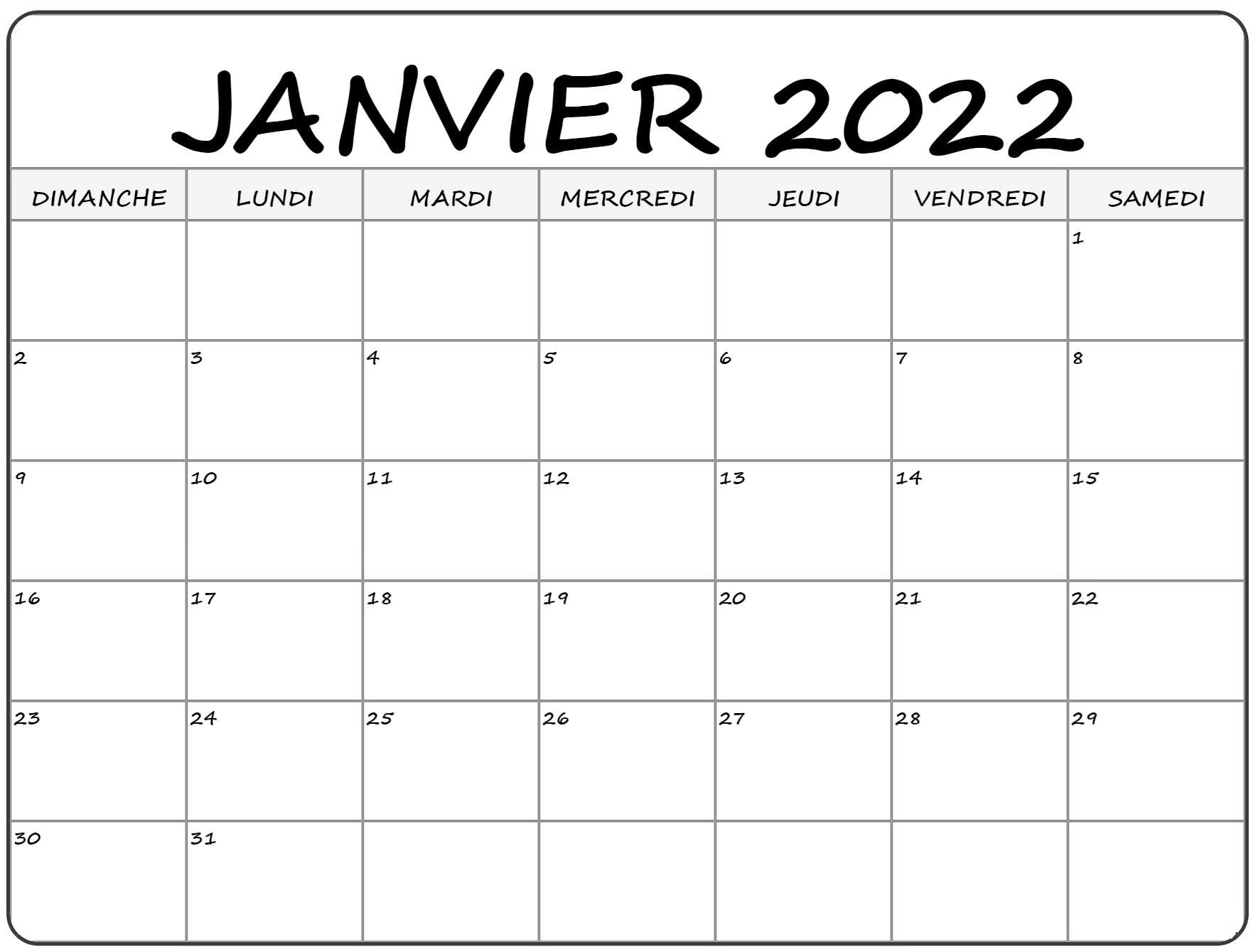 Calendrier imprimable de Janvier 2022
