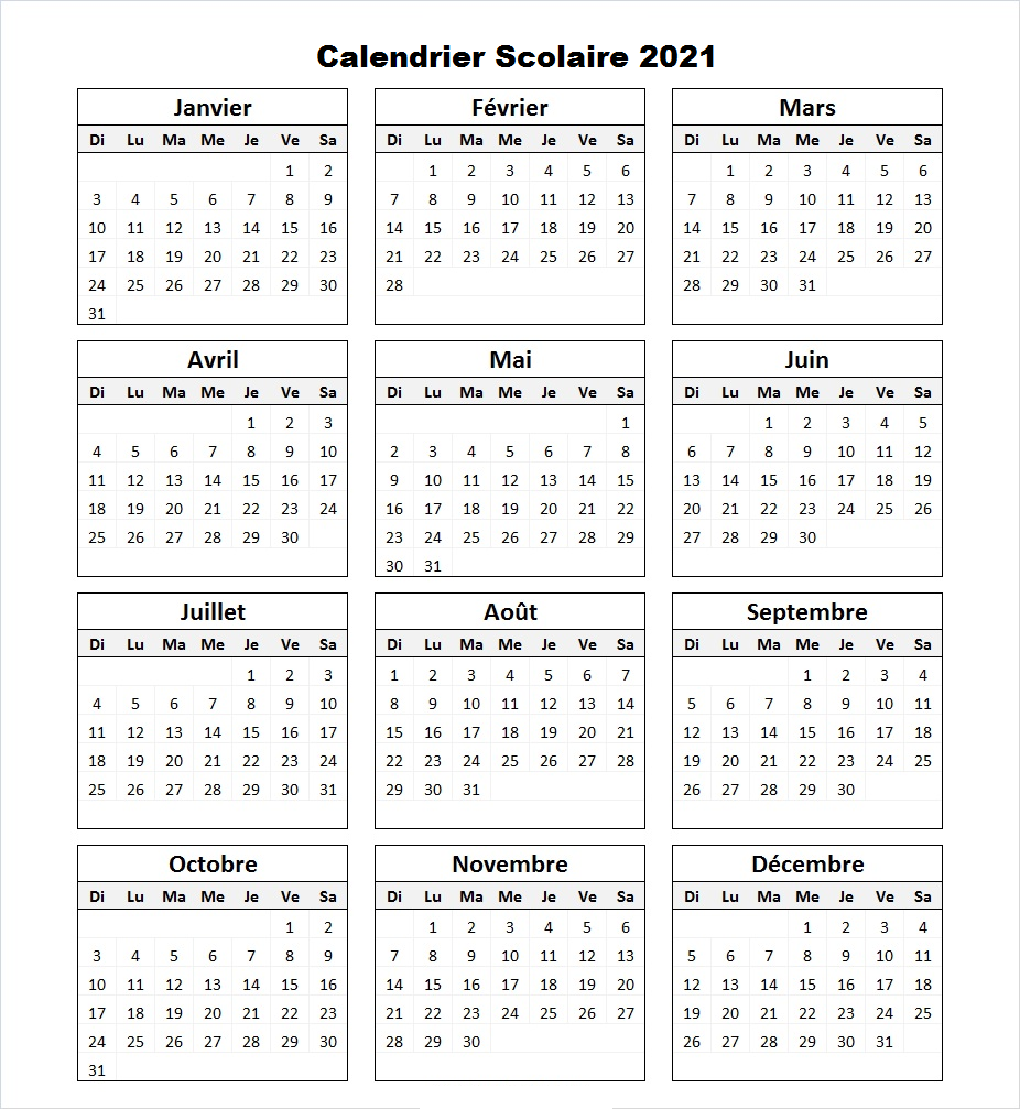 Calendrier Scolaire 2021 Excel