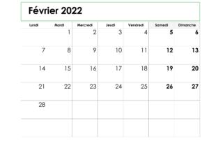 Calendrier imprimable de Février 2022