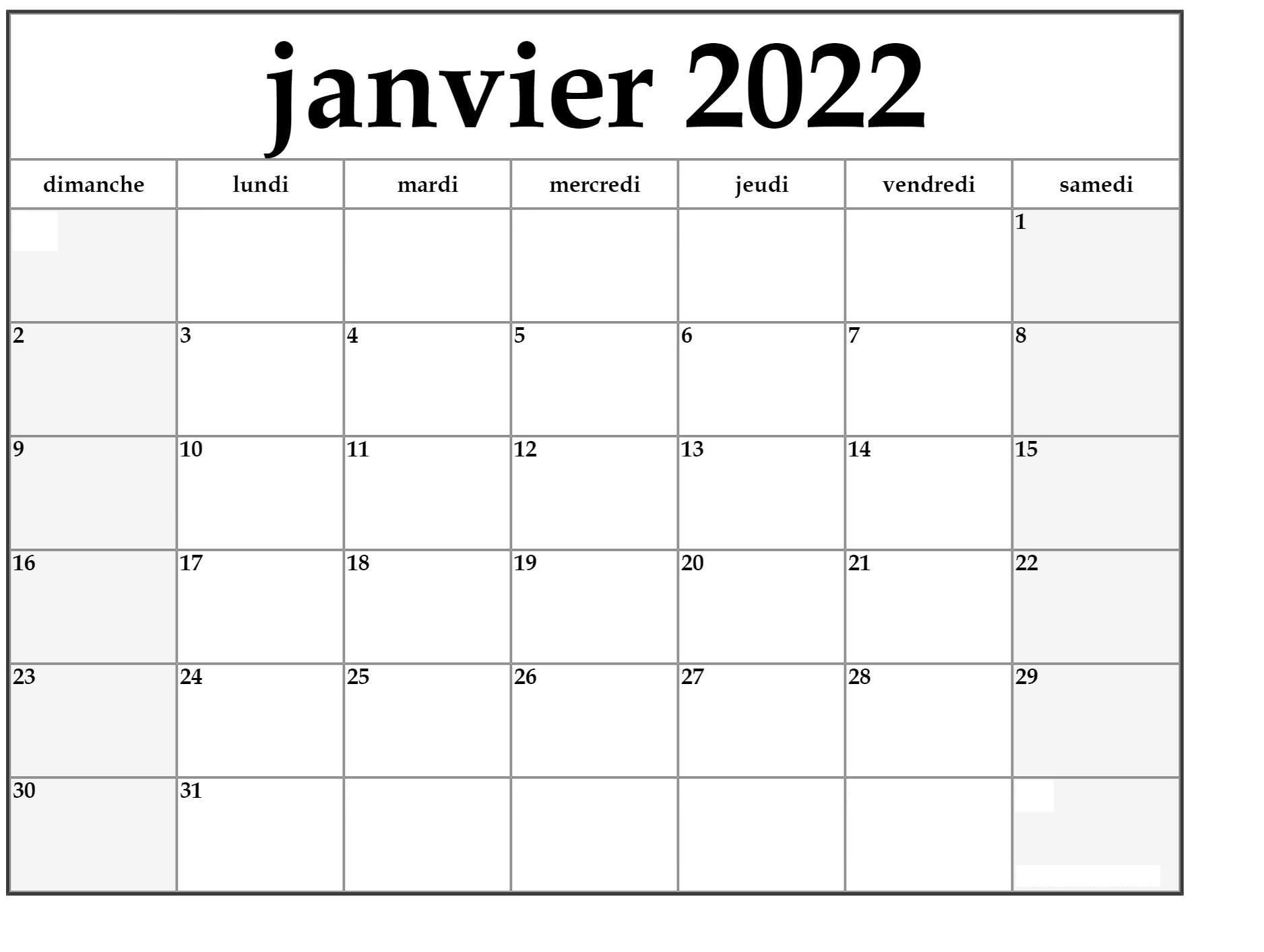 Calendrier Janvier 2022 Excel