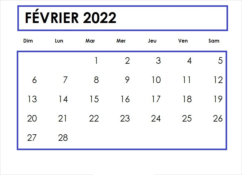 Février 2022 Calendrier