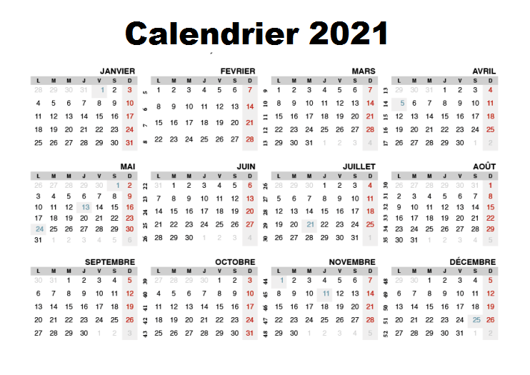 Semaine Calendrier 2021