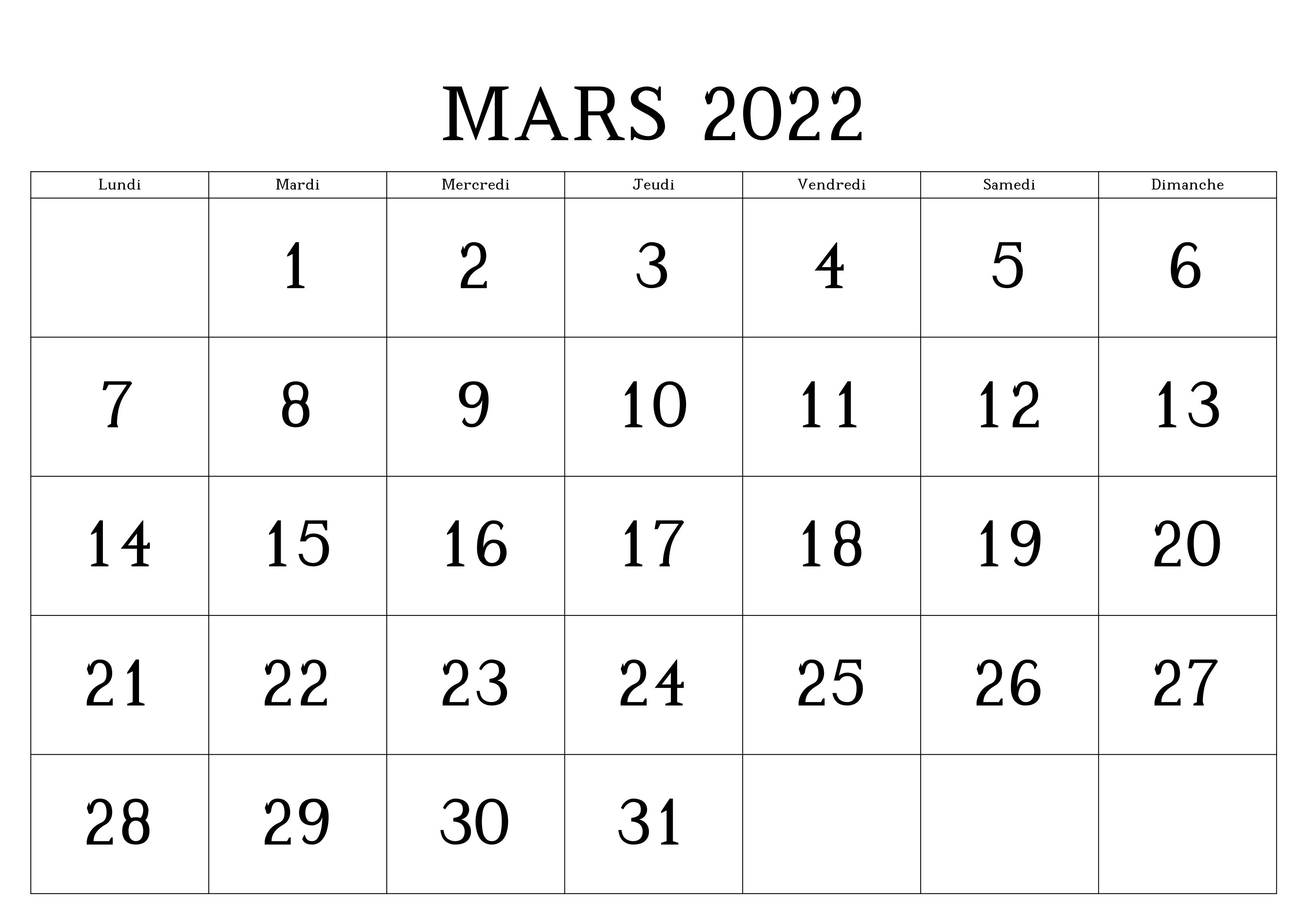 2022 Mars Calendrier