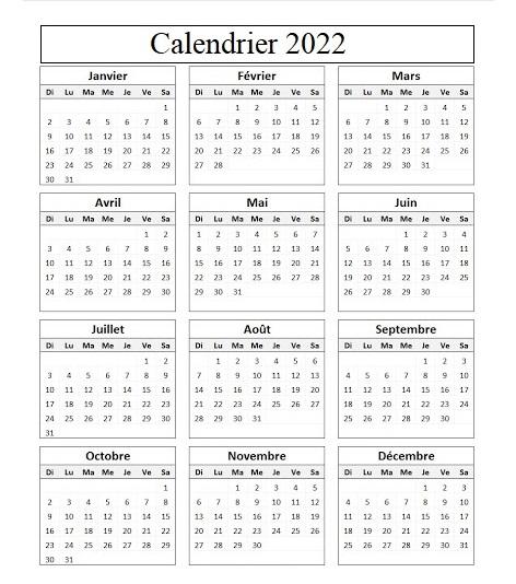 Calendrier 2022 Avec Semaine Excel