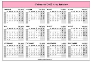 Calendrier 2022 Avec Semaine PDF